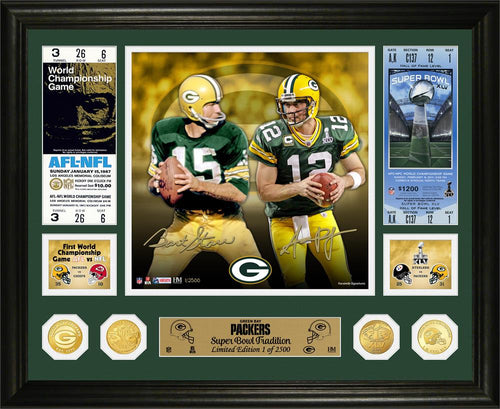 Bart Starr & Aaron Rodgers Green Bay Packers Super Bowl Traditions Bronze Coin Photo Mint