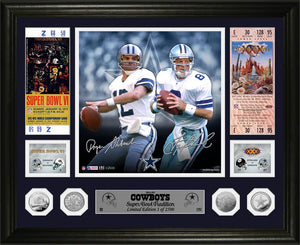 Roger Staubach & Troy Aikman Dallas Cowboys Super Bowl Traditions Silver Coin Photo Mint