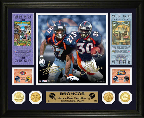 Steve Atwater & Terrell Davis Denver Broncos Super Bowl Traditions Bronze Coin Photo Mint