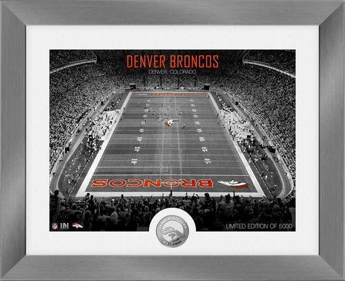 Denver Broncos Art Deco Stadium Silver Coin Photo Mint