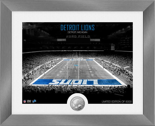 Detroit Lions Art Deco Stadium Silver Coin Photo Mint