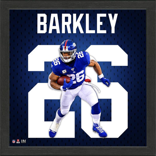 Saquon Barkley New York Giants Jersey Number Framed Photo