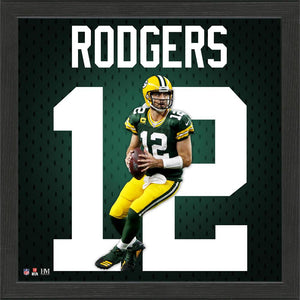 Aaron Rodgers Green Bay Packers Impact Jersey Framed Photo