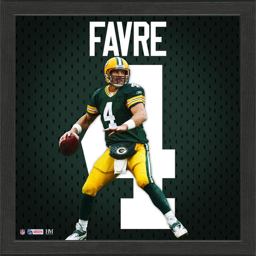 Brett Favre Green Bay Packers Impact Jersey Framed Photo