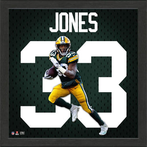 Aaron Jones Green Bay Packers Impact Jersey Framed Photo