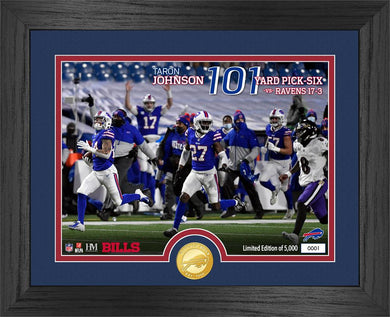 Taron Johnson Buffalo Bills 101-Yard Pick Six Bronze Coin Photo Mint