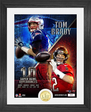 Tom Brady NFL Record 10 Super Bowl Appearances Bronze Coin Photo Mint