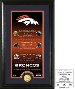 Denver Broncos Legacy Bronze Coin Photo Mint