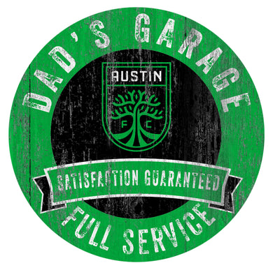 Austin FC Dad's Garage Wood Sign