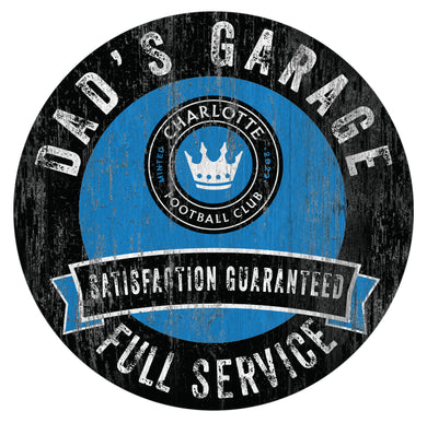 Charlotte FC Dad's Garage Wood Sign