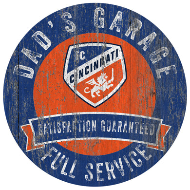 FC Cincinnati Dad's Garage Wood Sign