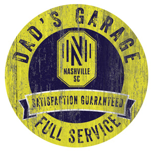 Nashville FC Dad's Garage Wood Sign