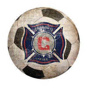 Chicago Fire  Soccer Ball Shaped Sign