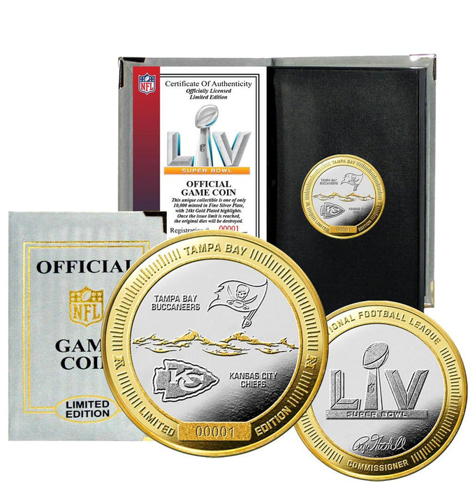 Kansas City Chiefs vs Tampa Bay Buccaneers Super Bowl 55 Official 2-Tone Dueling Flip Coin