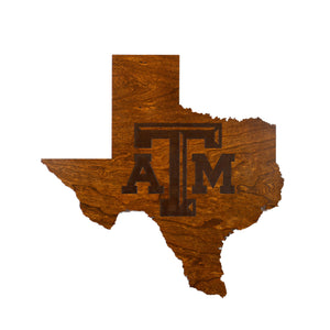Texas A&M - Wall Hanging - State Map - Block TAM - Large Size