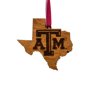 Texas A&M Aggies Cherry Wood Ornament - State Map
