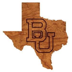 Baylor Bears Wood Wall Hanging - State Map - Block BU - Standard Size