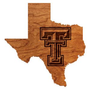 Texas Tech Red Raiders Wood Wall Hanging with State Map