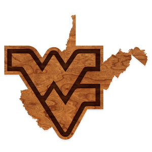 West Virginia Mountaineers Wood Wall Hanging - Flying WV State Map