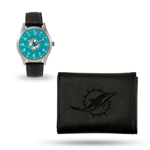 Miami Dolphins  Black Wallet & Watch Set