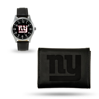 New York Giants Black Wallet & Watch Set