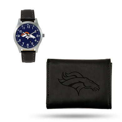 Denver Broncos  Black Wallet & Watch Set