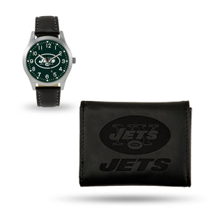 New York Jets Black Wallet & Watch Set