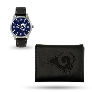 Los Angeles Rams Black Wallet & Watch Set