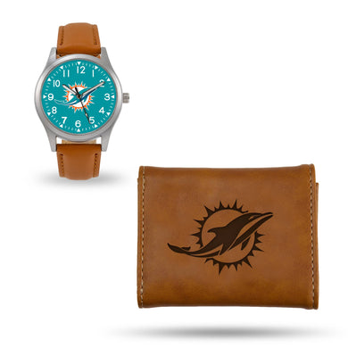 Miami Dolphins Brown Wallet & Watch Set