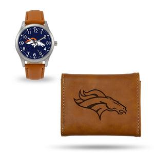 Denver Broncos Brown Wallet & Watch Set