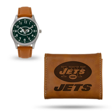 New York Jets Brown Wallet & Watch Set