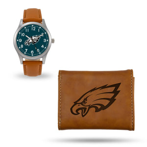 Philadelphia Eagles Brown Wallet & Watch Set