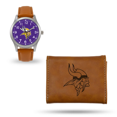 Minnesota Vikings Brown Wallet & Watch Set
