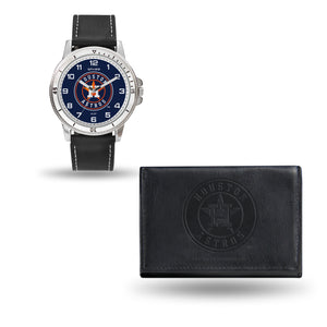 Houston AStros Mens Black Watch and Wallet Set