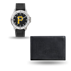 Pittsburgh Pirates Mens Black Watch and Wallet Set