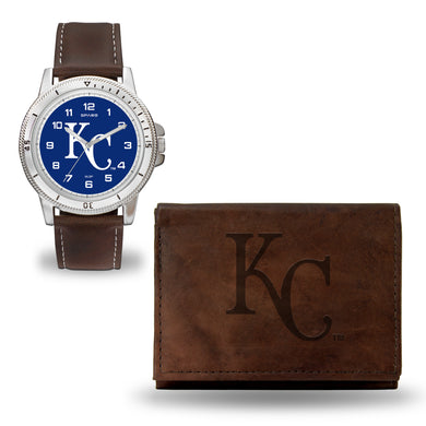 Kansas City Royals Mens Black Watch and Wallet Set