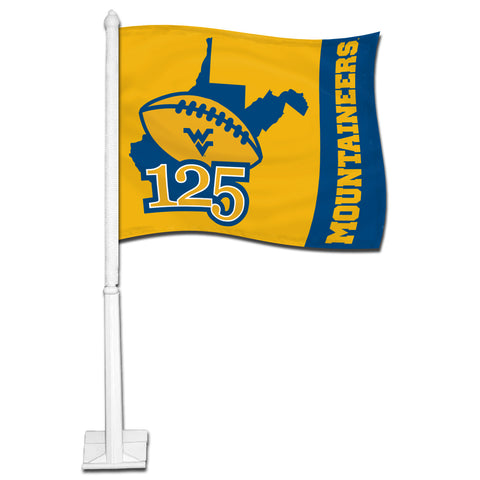 wvu football, wvu car flag, wvu 125