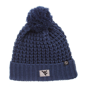wvu football, wvu basketball, wvu pom knit, wvu knit beanie