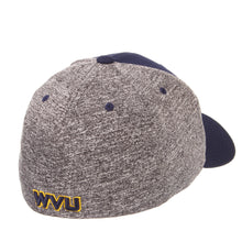 Back view of a blue and grey West Virginia Mountaineer insignia hat WVU apparel facing right
