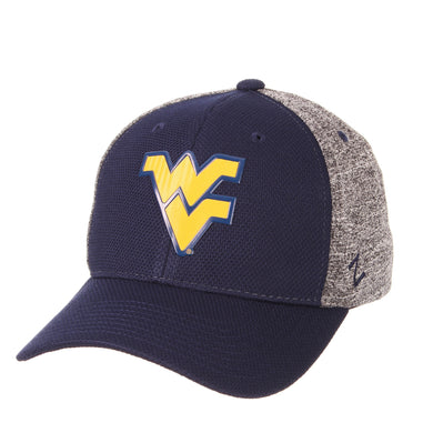 Front view of a blue and grey West Virginia Mountaineer Insignia hat WVU apparel