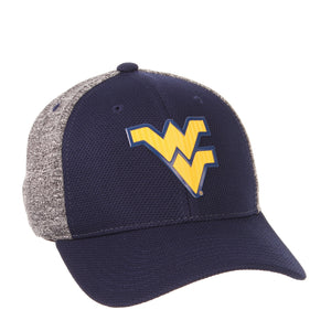 Front view of a blue and grey West Virginia Mountaineer Insignia hat WVU apparel facing right