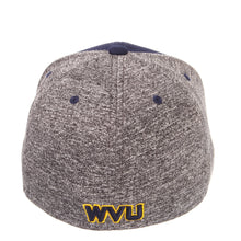 Back view of a blue and grey West Virginia Mountaineer insignia hat WVU apparel