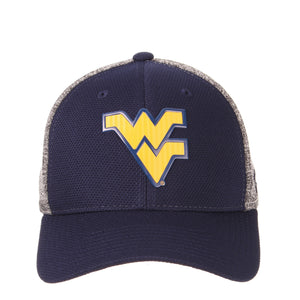 Straight front view of blue and grey West Virginia Mountaineer insignia hat WVU apparel