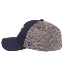 Side view of blue and grey West Virginia Mountaineer insignia hat WVU apparel facing left