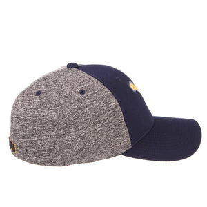 Side view of blue and grey West Virginia Mountaineer insignia hat WVU apparel facing right