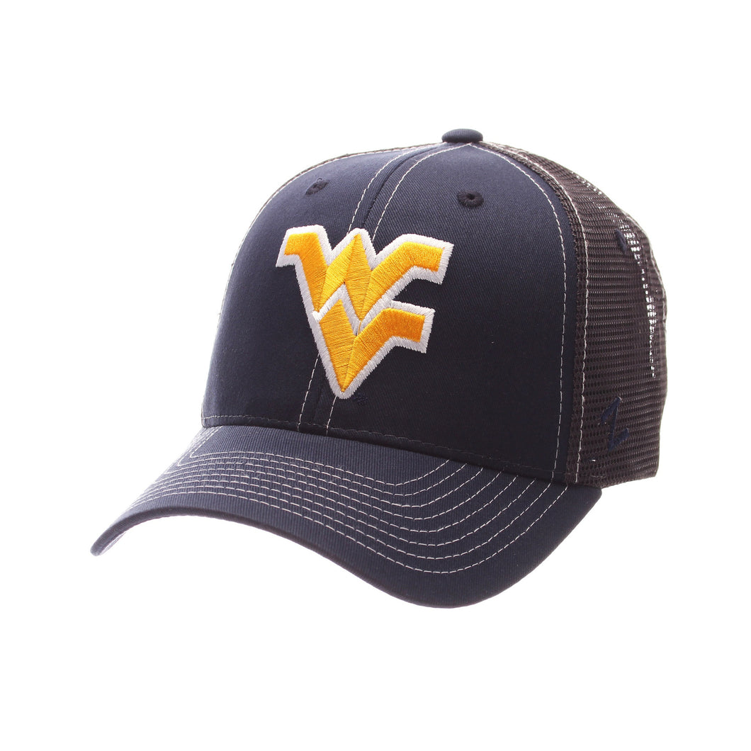 Front view of blue and black West Virginia Mountaineer staple trucker hat WVU apparel