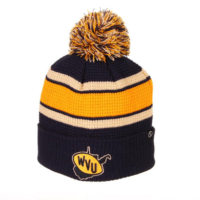 West Virginia Mountaineers Retro Logo Pom Knit Beanie