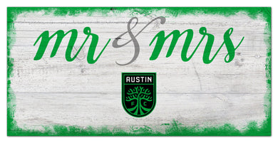 Austin FC Mr. & Mrs. Script Wood Sign - 6