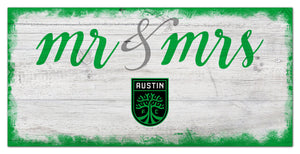 "Austin FC Mr. & Mrs. Script Wood Sign - 6""x12"""