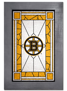 Boston Bruins Stained Glass Wood Sign